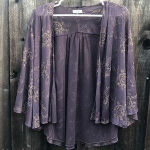 Sanctuary Sweaters - Sanctuary purple gold kimono cardigan